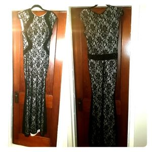 Black lace over tan Evening gown long